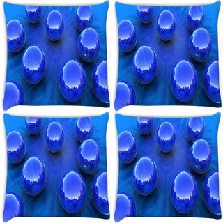 Snoogg Pack Of 4 Blue Balls Digitally Printed Cushion Cover Pillow 8 X 8 Inch