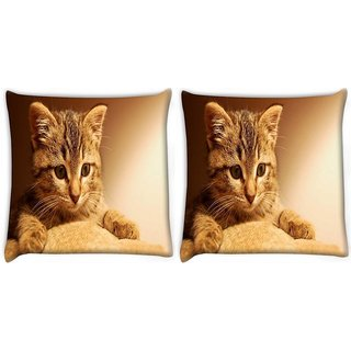 Snoogg Pack Of 2 Cute Kitty Digitally Printed Cushion Cover Pillow 8 X 8 Inch