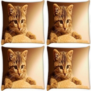 Snoogg Pack Of 4 Cute Kitty Digitally Printed Cushion Cover Pillow 8 X 8 Inch