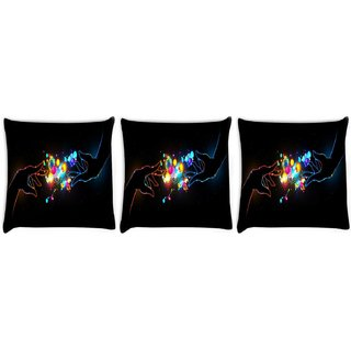 Snoogg Pack Of 3 Two Hands Digitally Printed Cushion Cover Pillow 8 X 8 Inch
