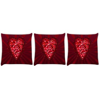 Snoogg Pack Of 3 Multiple Heart Digitally Printed Cushion Cover Pillow 8 X 8 Inch