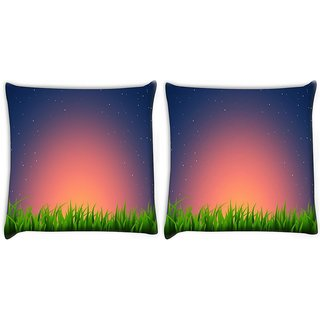 Snoogg Pack Of 2 Night At Garden Digitally Printed Cushion Cover Pillow 8 X 8 Inch