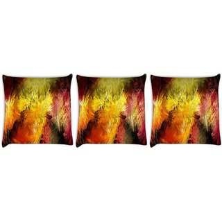 Snoogg Pack Of 3 Abstract Colorful Design Digitally Printed Cushion Cover Pillow 8 X 8 Inch