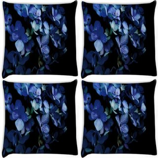 Snoogg Pack Of 4 Blue Petal Flower Digitally Printed Cushion Cover Pillow 8 X 8 Inch