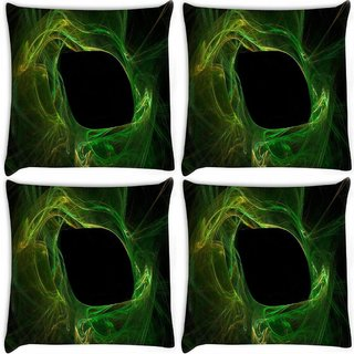Snoogg Pack Of 4 Green Smoke Pattern Digitally Printed Cushion Cover Pillow 8 X 8 Inch