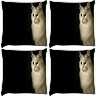 Snoogg Pack Of 4 Persian Cat Digitally Printed Cushion Cover Pillow 8 X 8 Inch