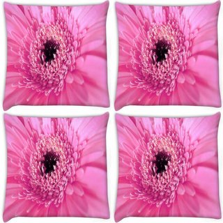 Snoogg Pack Of 4 Pink Petal Flower Digitally Printed Cushion Cover Pillow 8 X 8 Inch