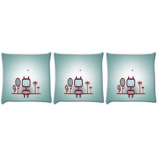 Snoogg Pack Of 3 Animated Street Digitally Printed Cushion Cover Pillow 8 X 8 Inch