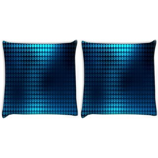 Snoogg Pack Of 2 Blue Spots Digitally Printed Cushion Cover Pillow 8 X 8 Inch