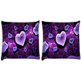 Snoogg Pack Of 2 Purple Hearts Digitally Printed Cushion Cover Pillow 8 X 8 Inch