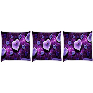 Snoogg Pack Of 3 Purple Hearts Digitally Printed Cushion Cover Pillow 8 X 8 Inch