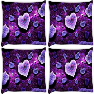 Snoogg Pack Of 4 Purple Hearts Digitally Printed Cushion Cover Pillow 8 X 8 Inch