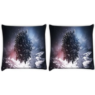 Snoogg Pack Of 2 Black Circle With Sharp Edges Digitally Printed Cushion Cover Pillow 8 X 8 Inch