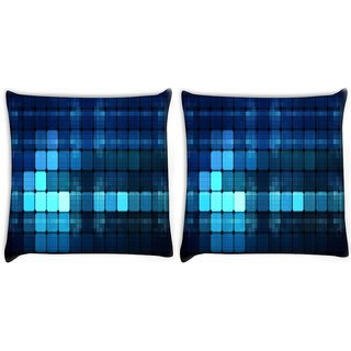 Snoogg Pack Of 2 Blue Lights Wide Digitally Printed Cushion Cover Pillow 8 X 8 Inch