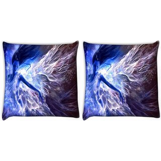 Snoogg Pack Of 2 Blue Fairy Fantasy Digitally Printed Cushion Cover Pillow 8 X 8 Inch