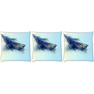 Snoogg Pack Of 3 Blue Feather And Glitter Digitally Printed Cushion Cover Pillow 8 X 8 Inch