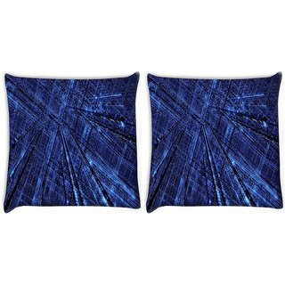 Snoogg Pack Of 2 Blue Grid Abstract Digitally Printed Cushion Cover Pillow 8 X 8 Inch