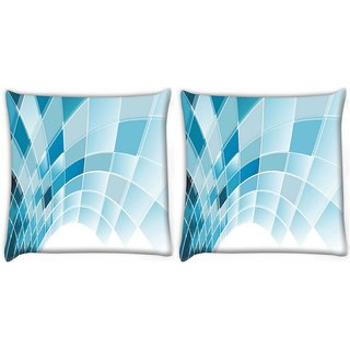 Snoogg Pack Of 2 Blue Squares Abstract Digitally Printed Cushion Cover Pillow 8 X 8 Inch