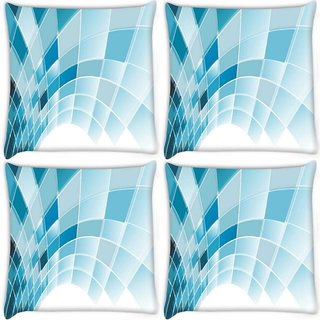 Snoogg Pack Of 4 Blue Squares Abstract Digitally Printed Cushion Cover Pillow 8 X 8 Inch