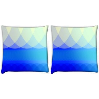 Snoogg Pack Of 2 Blue Waves Abstract Digitally Printed Cushion Cover Pillow 8 X 8 Inch