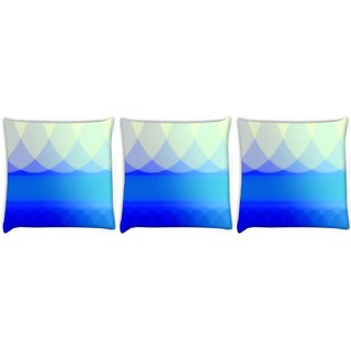 Snoogg Pack Of 3 Blue Waves Abstract Digitally Printed Cushion Cover Pillow 8 X 8 Inch
