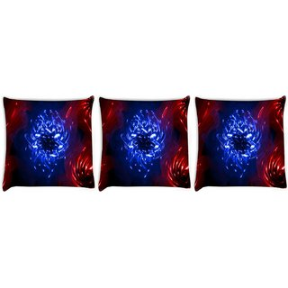 Snoogg Pack Of 3 Curves Abstract Digitally Printed Cushion Cover Pillow 8 X 8 Inch