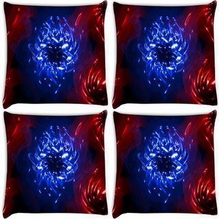 Snoogg Pack Of 4 Curves Abstract Digitally Printed Cushion Cover Pillow 8 X 8 Inch