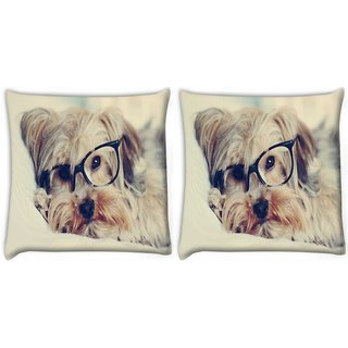 Snoogg Pack Of 2 Cute Dog With Glasses Digitally Printed Cushion Cover Pillow 8 X 8 Inch