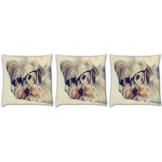 Snoogg Pack Of 3 Cute Dog With Glasses Digitally Printed Cushion Cover Pillow 8 X 8 Inch