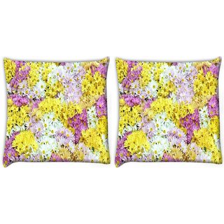 Snoogg Pack Of 2 Dreams Fields Flower Digitally Printed Cushion Cover Pillow 8 X 8 Inch