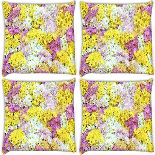 Snoogg Pack Of 4 Dreams Fields Flower Digitally Printed Cushion Cover Pillow 8 X 8 Inch
