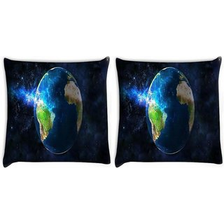 Snoogg Pack Of 2 Earth Free Wallpaper Digitally Printed Cushion Cover Pillow 8 X 8 Inch