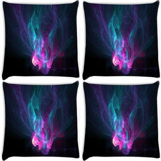 Snoogg Pack Of 4 Multicolor Smoke Pattern Digitally Printed Cushion Cover Pillow 8 X 8 Inch
