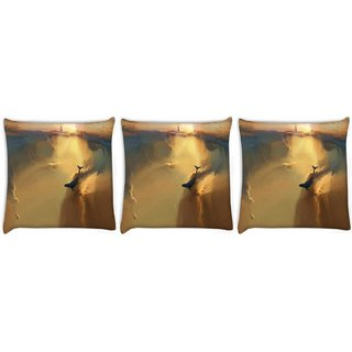 Snoogg Pack Of 3 Under Water World Digitally Printed Cushion Cover Pillow 8 X 8 Inch