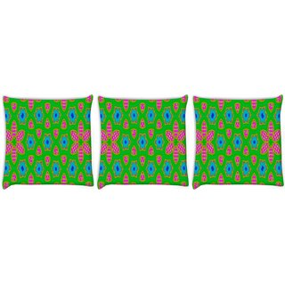 Snoogg Pack Of 3 Geometrical Pattern Digitally Printed Cushion Cover Pillow 8 X 8 Inch