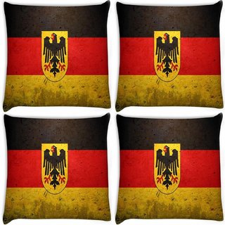 Snoogg Pack Of 4 German Flag Digitally Printed Cushion Cover Pillow 8 X 8 Inch