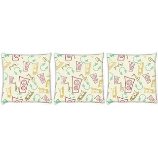 Snoogg Pack Of 3 Speakers And Jazz Digitally Printed Cushion Cover Pillow 14 x 14 Inch