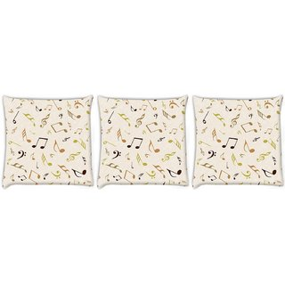 Snoogg Pack Of 3 Multicolor Strings Digitally Printed Cushion Cover Pillow 14 x 14 Inch