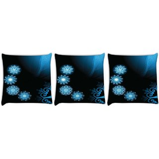 Snoogg Pack Of 3 Abstract Rangolies Digitally Printed Cushion Cover Pillow 14 x 14 Inch