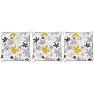 Snoogg Pack Of 3 Colorful Leaves Digitally Printed Cushion Cover Pillow 8 X 8 Inch