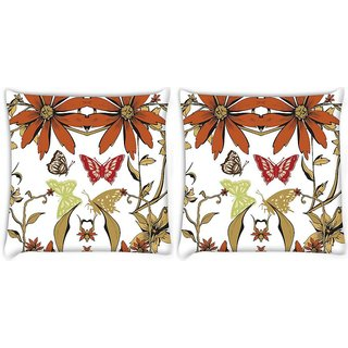 Snoogg Pack Of 2 Garden White Pattern Digitally Printed Cushion Cover Pillow 8 X 8 Inch