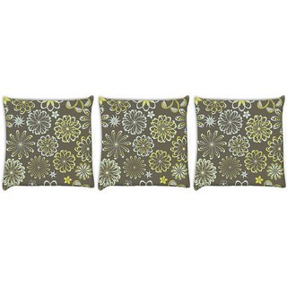 Snoogg Pack Of 3 White Florals Digitally Printed Cushion Cover Pillow 8 X 8 Inch