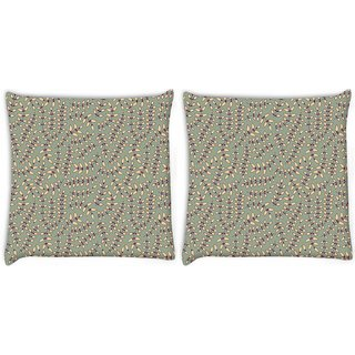 Snoogg Pack Of 2 Cream Small Leaves Digitally Printed Cushion Cover Pillow 8 X 8 Inch