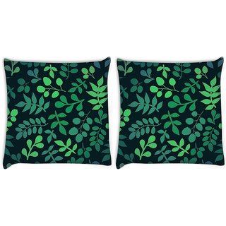 Snoogg Pack Of 2 Green Leaves Digitally Printed Cushion Cover Pillow 8 X 8 Inch