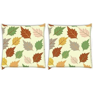 Snoogg Pack Of 2 Dark Leaves Digitally Printed Cushion Cover Pillow 8 X 8 Inch