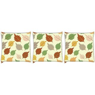 Snoogg Pack Of 3 Dark Leaves Digitally Printed Cushion Cover Pillow 8 X 8 Inch