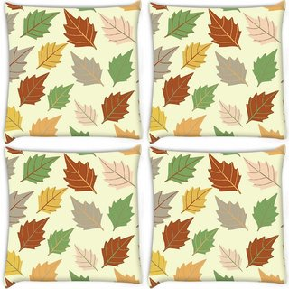 Snoogg Pack Of 4 Dark Leaves Digitally Printed Cushion Cover Pillow 8 X 8 Inch