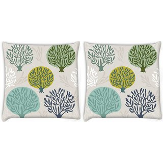 Snoogg Pack Of 2 Abstract Trees Digitally Printed Cushion Cover Pillow 8 X 8 Inch