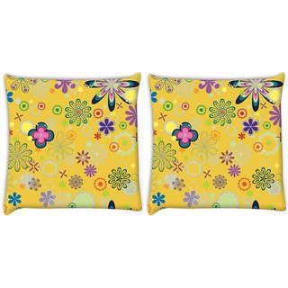 Snoogg Pack Of 2 Yellow Floral Pattern Digitally Printed Cushion Cover Pillow 8 X 8 Inch