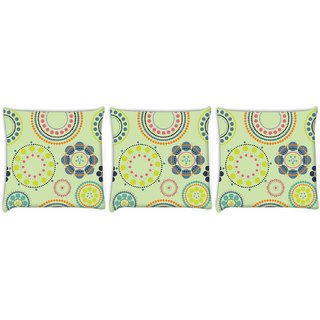 Snoogg Pack Of 3 Green Floral Digitally Printed Cushion Cover Pillow 8 X 8 Inch